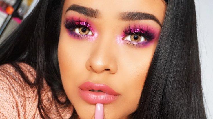 Макияж вечерний с розовым цветом